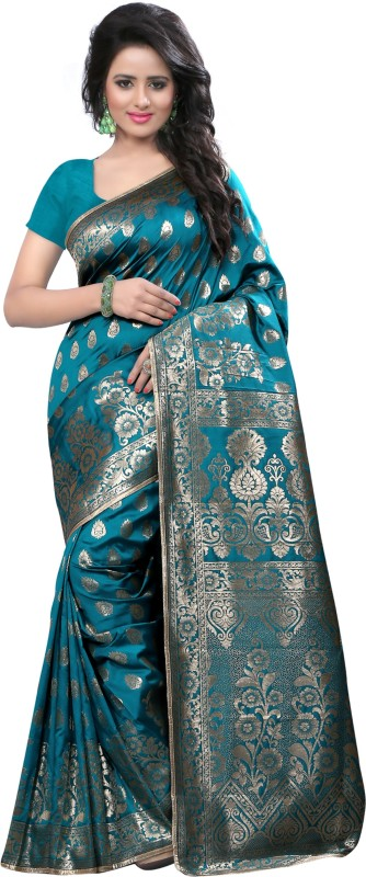 The Fashion Outlets Self Design, Solid Coimbatore Silk Cotton Blend, Jacquard Saree(Green)