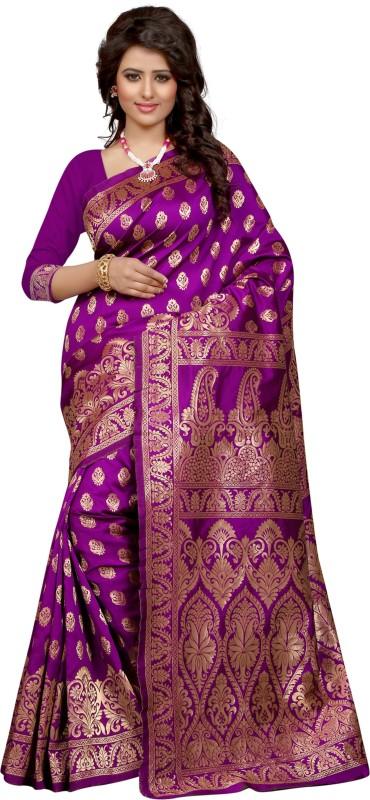 The Fashion Outlets Self Design, Solid Coimbatore Silk Cotton Blend, Jacquard Saree(Purple)