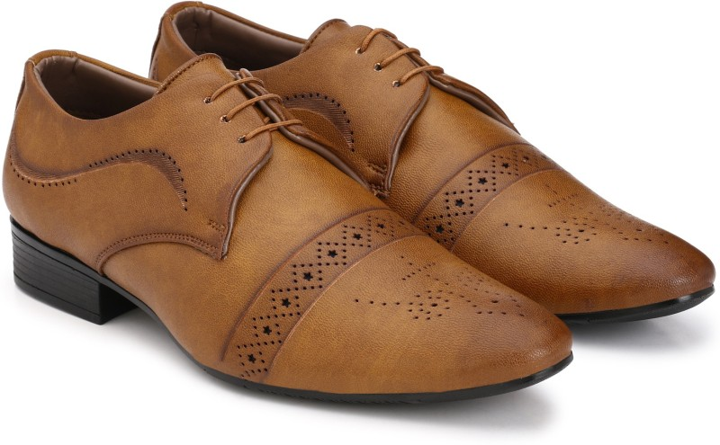Prolific Brogue Lace Up For Men(Tan)