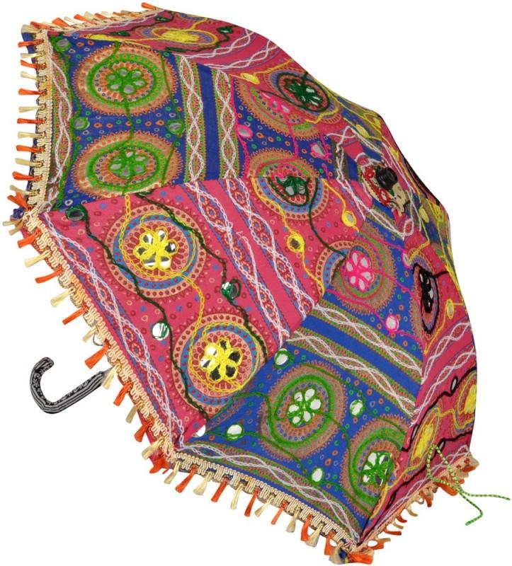 Lal Haveli Wedding Decoration Cotton Embroidered Women Sun Umbrella(Multicolor)