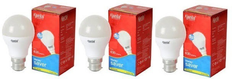 Ajanta 9 W Round B22 LED Bulb(White, Pack of 3)