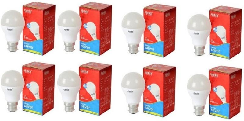 Ajanta 9 W Round B22 LED Bulb(White, Pack of 8)