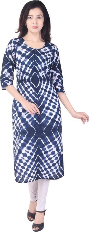 Crazora Casual Abstract Women's Kurti(Blue)