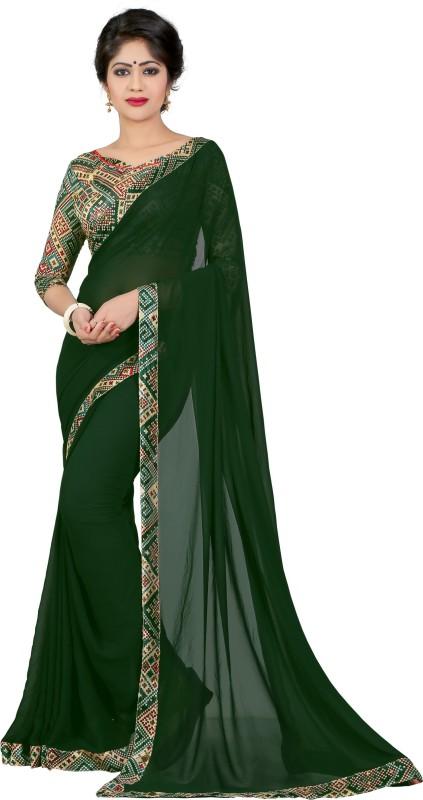 Livie Solid Fashion Georgette Saree(Green)