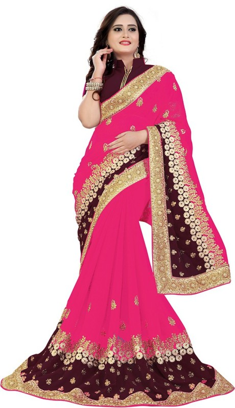 Rudra Fashion Embroidered Bollywood Georgette Saree(Multicolor)