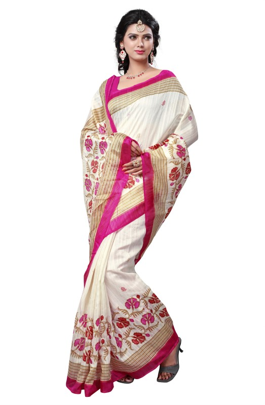 Winza Designer Printed, Self Design, Paisley, Geometric Print, Solid Bhagalpuri Cotton Blend Saree(White)