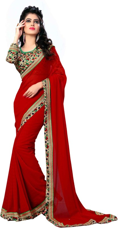 Oomph! Solid Bollywood Chiffon Saree(Red)