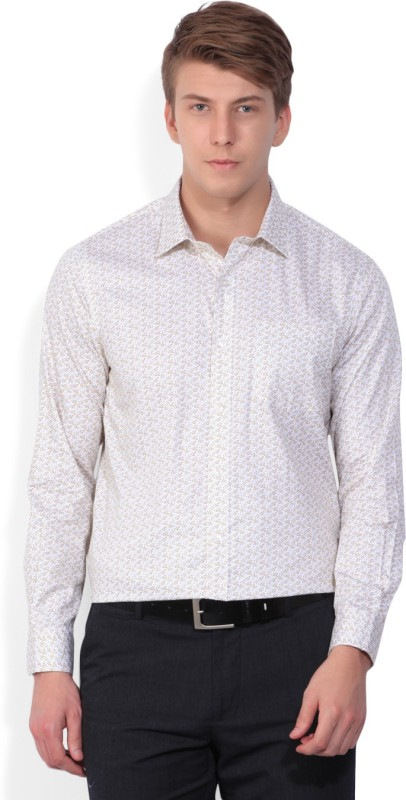Arrow Men Printed Formal Beige Shirt