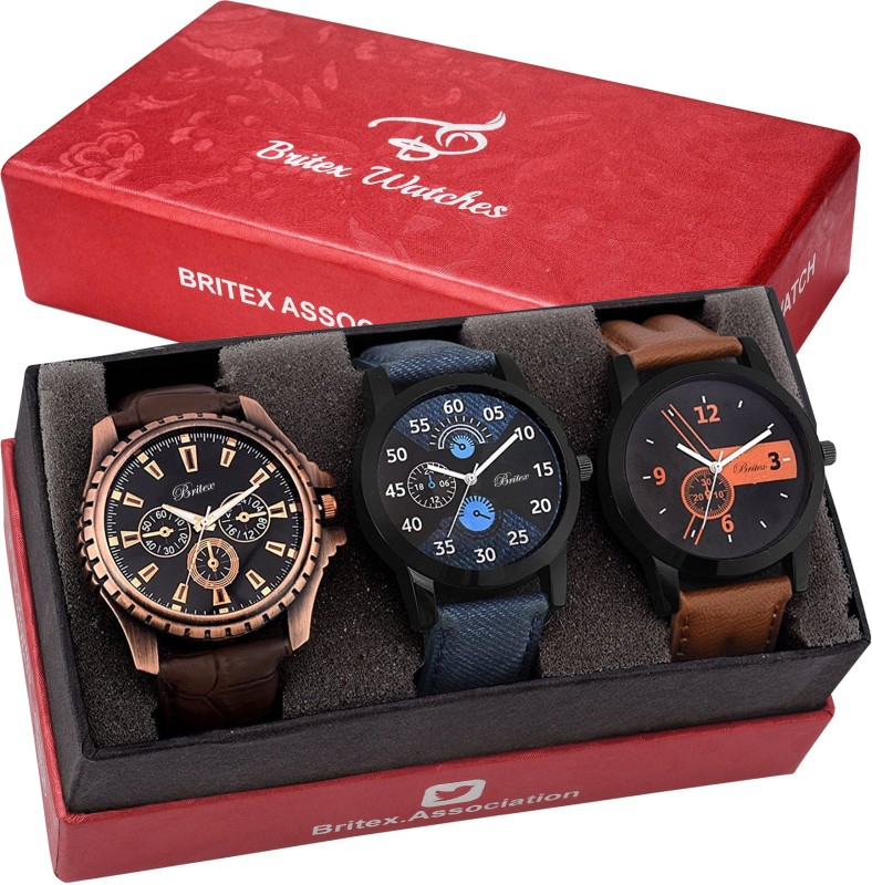 Britex BT3106~6150~6155 The PopUp~Pack of 3 Analog Watch - For Men