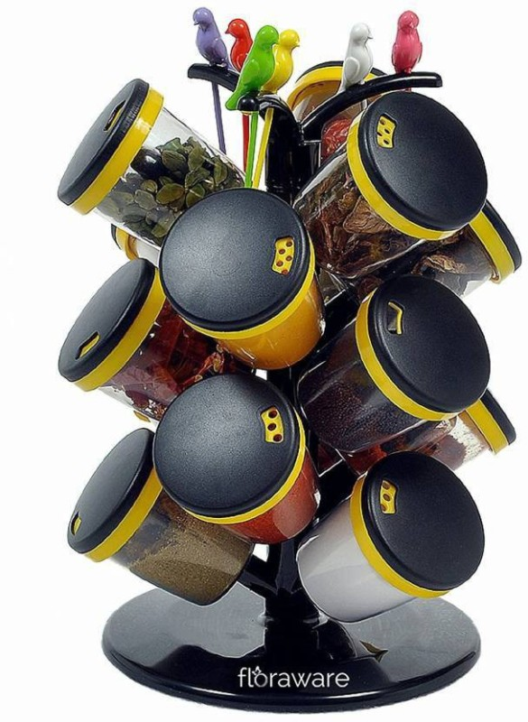 Divine 15 Pices Revoling spice racks Set With 6 Pcs Fruit Frok Yellow Ipl Sale 21 Piece Spice Set(Plastic)