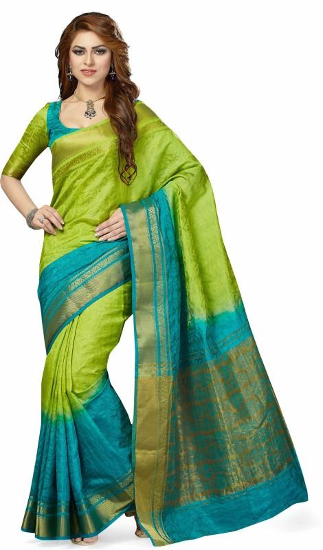 Taanshi Self Design Fashion Tussar Silk Saree(Green)