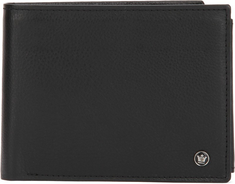 Louis Philippe Men Black Genuine Leather Wallet(7 Card Slots)