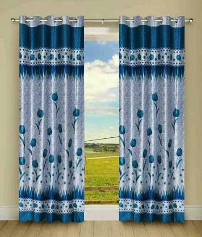 HOME BEST 150 cm (5 ft) Polyester Window Curtain (Pack Of 2)(Floral, Multicolor)