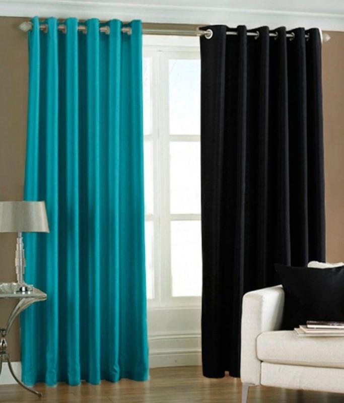 Panipat Textile Hub 213 cm (7 ft) Polyester Door Curtain (Pack Of 2)(Solid, Black, Aqua)