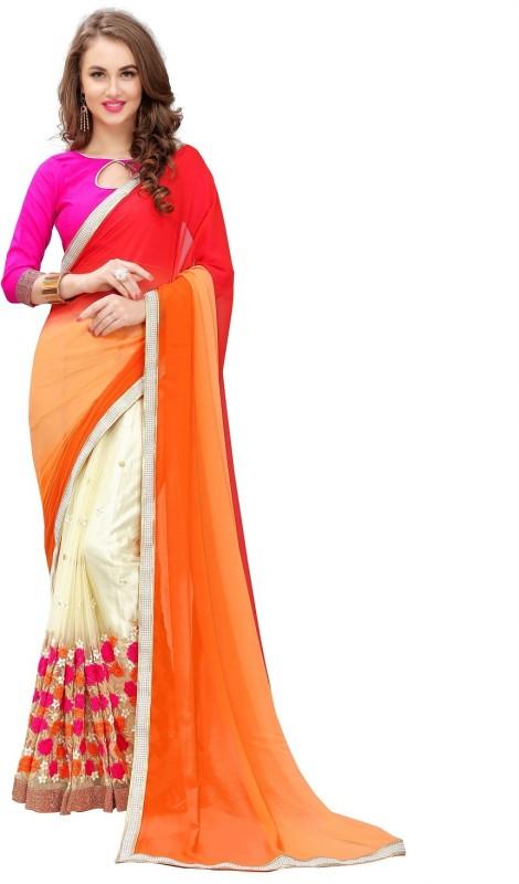 PANCHRATNA Self Design, Solid, Embellished, Embroidered, Digital Prints Fashion Georgette Saree(Orange)