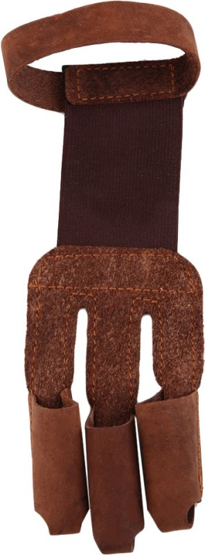 Futaba 3 Fingers Pull Bow Archery Protect Archery Gloves (Free Size, Brown)