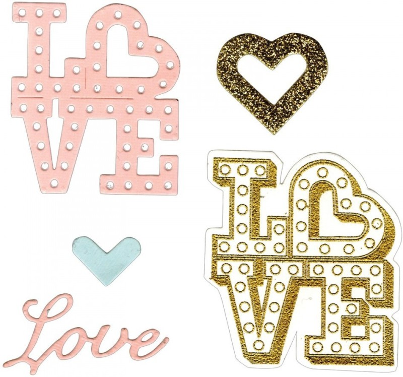 SIZZIX Framelits Die Set 4PK w/Stamps - Love in Lights 661858 love Stencil(Pack of 4, love)