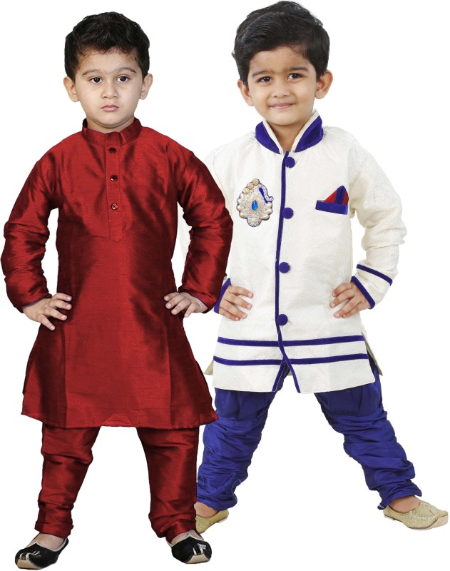 NIKUNJ Boys Festive & Party Kurta and Pyjama Set(Multicolor Pack of 4)