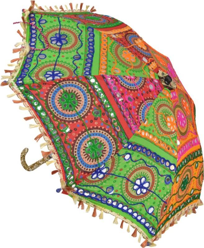 Lal Haveli Cotton Embroidered Mini Umbrella(Multicolor)