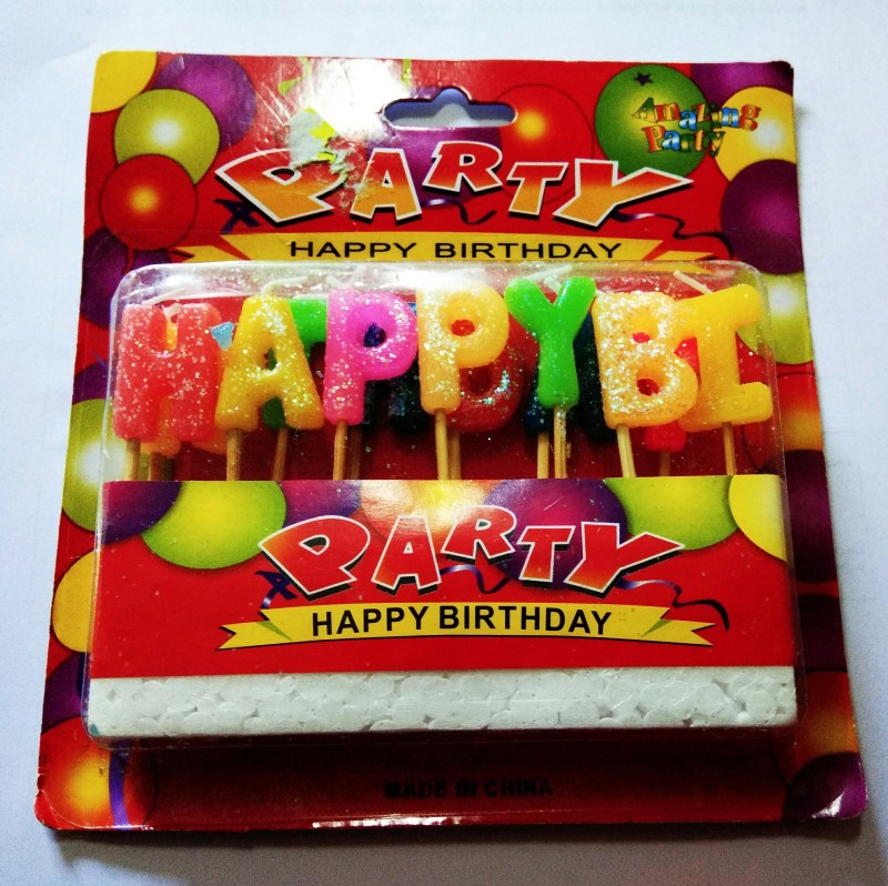 PartyballoonsHK Happy Birthday Alphabetical Candle(Multicolor, Pack of 1)