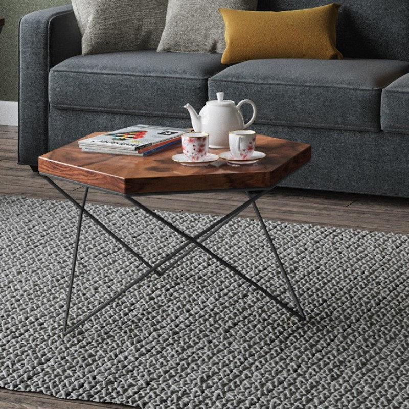 Urban Ladder Dyson Hex Solid Wood Coffee Table(Finish Color - Teak)