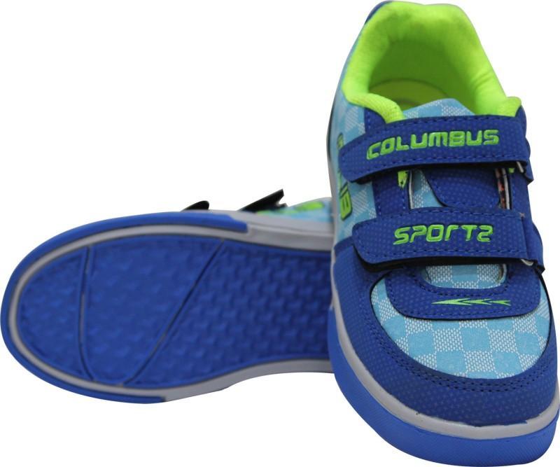 Columbus Boys Velcro Running Shoes(Blue)
