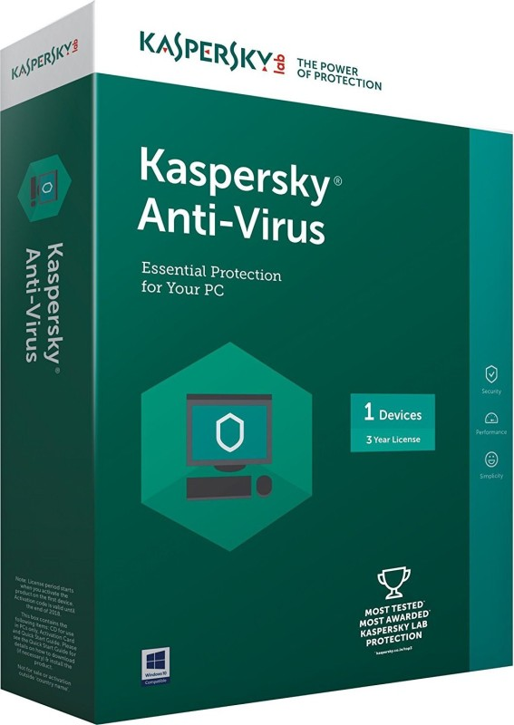kaspersky Antivirus Software 2017 1 Pc 3Year (1cd,1095 Days Valid Serial Key This serial key also use for renewal purpose Free Plastic Cd Cover For Safe the cd From Scartch)