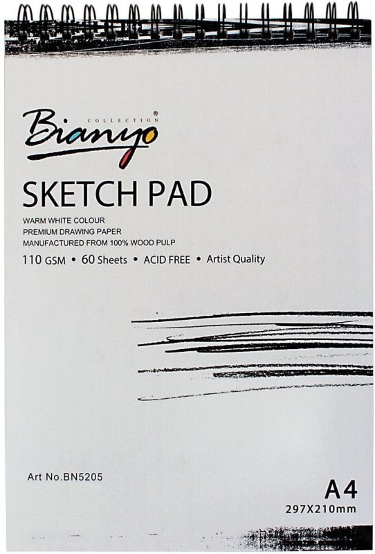 Bianyo Artist Quality Sketch Pad - Acid Free.110 GSM. A4 Size. 60 Sheets Sketch Pad(Black, White, 60 Sheets)
