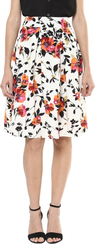 Harpa Floral Print Women's Pleated White Skirt