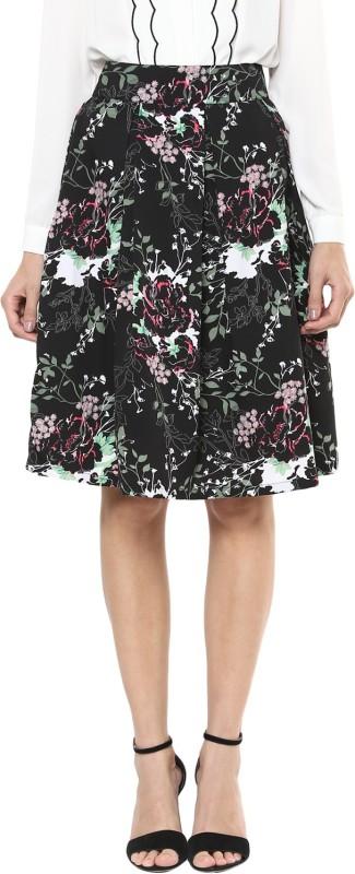 Harpa Floral Print Women's Pleated Black Skirt