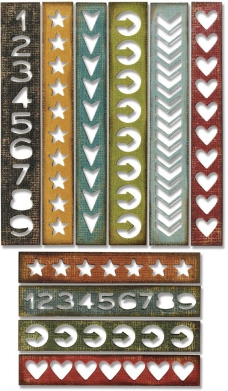 SIZZIX Thinlits Die Set 10PK - Shape Strips 660226 shape,strips Stencil(Pack of 10, shape, strips)