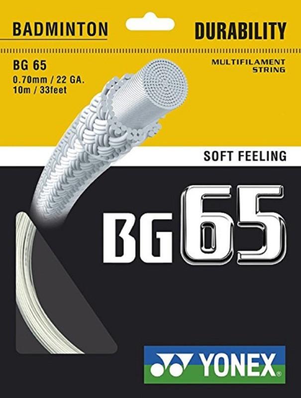Yonex BG 65 0.7 Badminton String - 10 m(White)