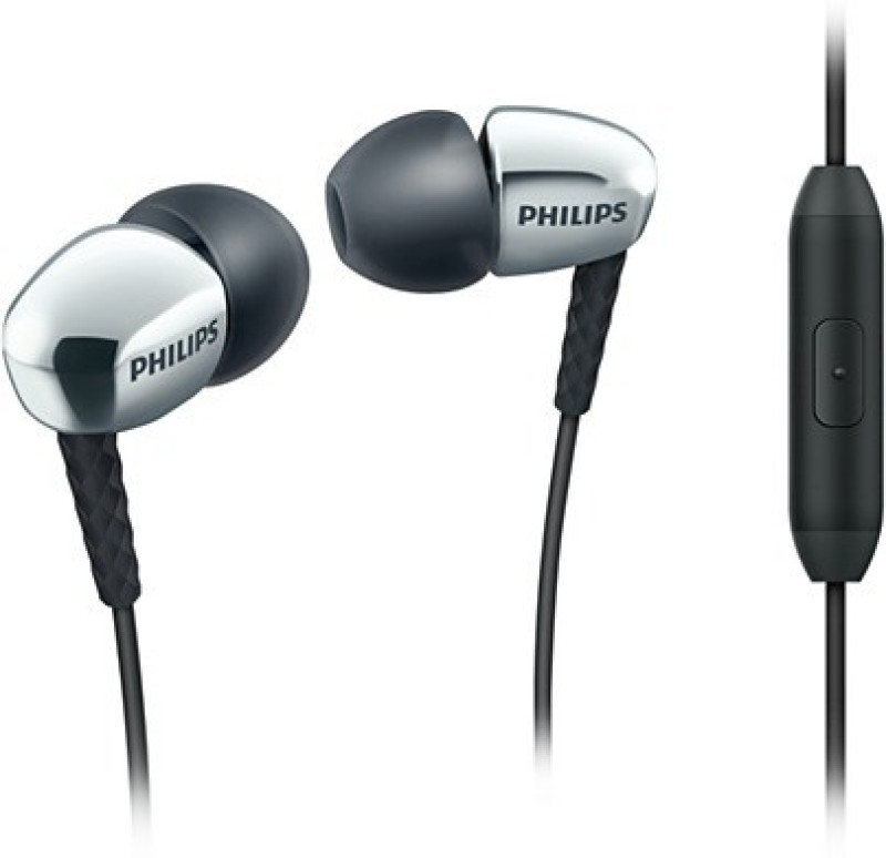 Philips SHE3905SL/00 Wired Headset with Mic(Black and Silver, In the Ear)