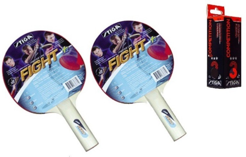 Stiga Fight Table Tennis Racket and Competition Balls- TT Kit Multicolor Table Tennis Racquet(240 g)