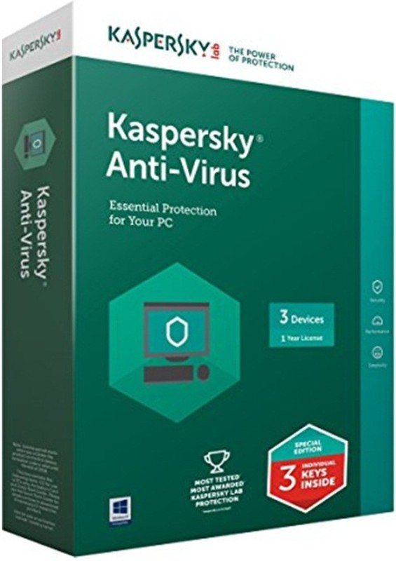 Kaspersky Antivirus Software 2017 3 Pc 1 Year (1cd,,3 serial keys Every Key 1 Year Validity Free Money Purse & Plastic Cd Cover For Safe the Cds From Scratch)