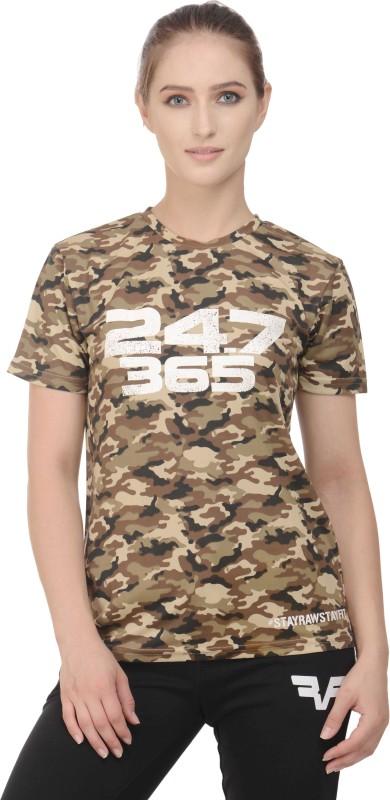 RAWFITT Military Camouflage Women's Round Neck Multicolor, White T-Shirt