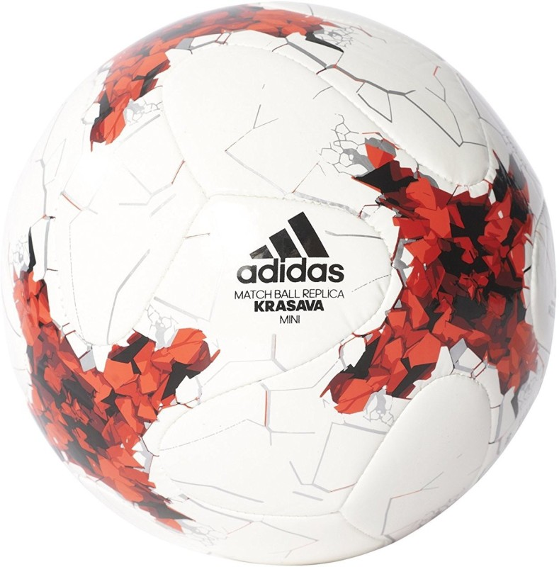 Adidas Confed Glider Football - Size: 5(Pack of 1, White, Bright Red, Black, Silver Met)