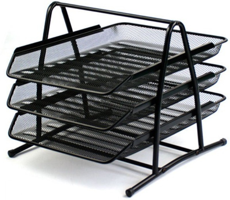 FULLHOUZ 3 Compartments Metal Document Tray or Office File Rack(Black)