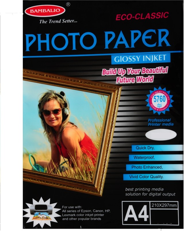 Bambalio BPG 180-20 (Classic) Glossy Photo Paper 180 gsm, 40 Sheets A4 Photo Paper(Set of 2, White) BPG 180-20 (Classic)