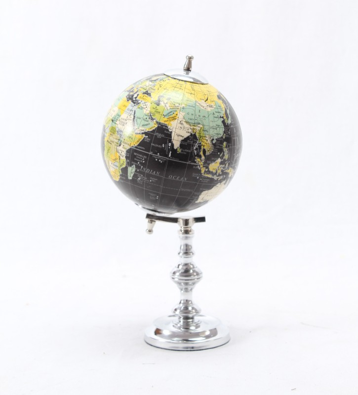 Brass & Copper Classics 4 inch Big Desktop Rotating Antique Educational World Earth Political Office Globe with Aluminium Stand Desk & Table Top Political World Globe(X Extra Small Black)