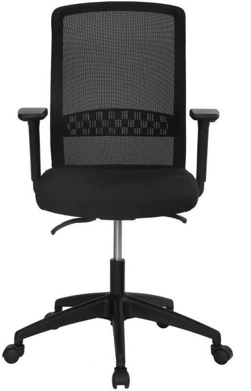 Nilkamal Hydra Mid Mesh Back Fabric Office Arm Chair(Black)