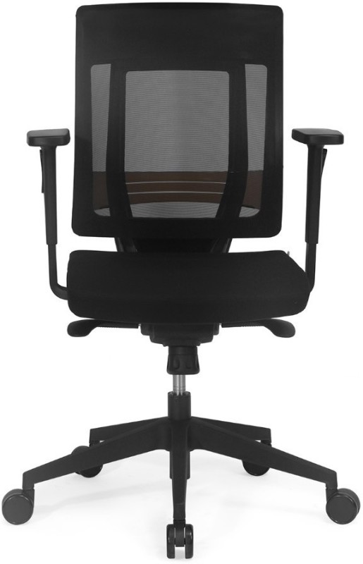 Nilkamal Pinnacle Mid Mesh Back Fabric Office Arm Chair(Black)