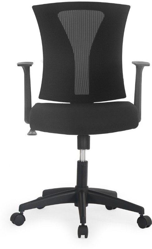 Nilkamal Centura Mesh Mid Back Fabric Office Arm Chair(Black)