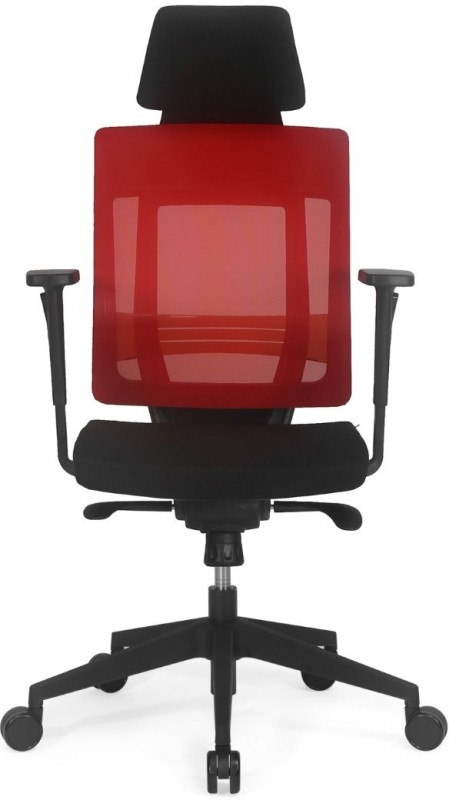 Nilkamal Pinnacle High Mesh Back Fabric Office Arm Chair(Red)