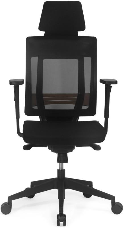 Nilkamal Pinnacle High Mesh Back Fabric Office Arm Chair(Black)