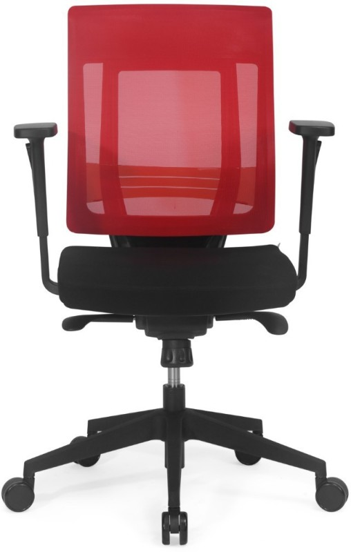 Nilkamal Pinnacle Mid Mesh Back Fabric Office Arm Chair(Red)