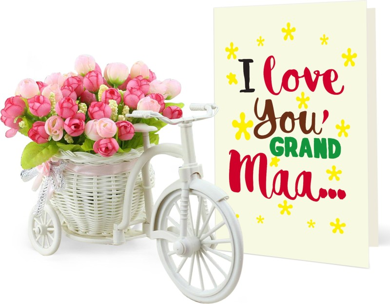 Tied Ribbons Gift for mom from kids Cycle vase and Artificial Flowers With and Greeting Card Artificial Flower Gift Set