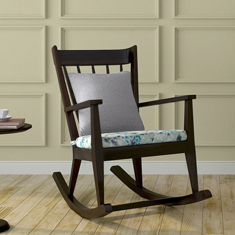 Urban Ladder Atticus Solid Wood 1 Seater Rocking Chairs(Finish Color - Mahogany)