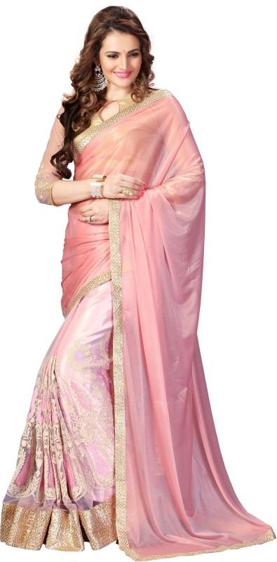 Amar Enterprise Embroidered Bollywood Art Silk Saree(Beige, Pink)