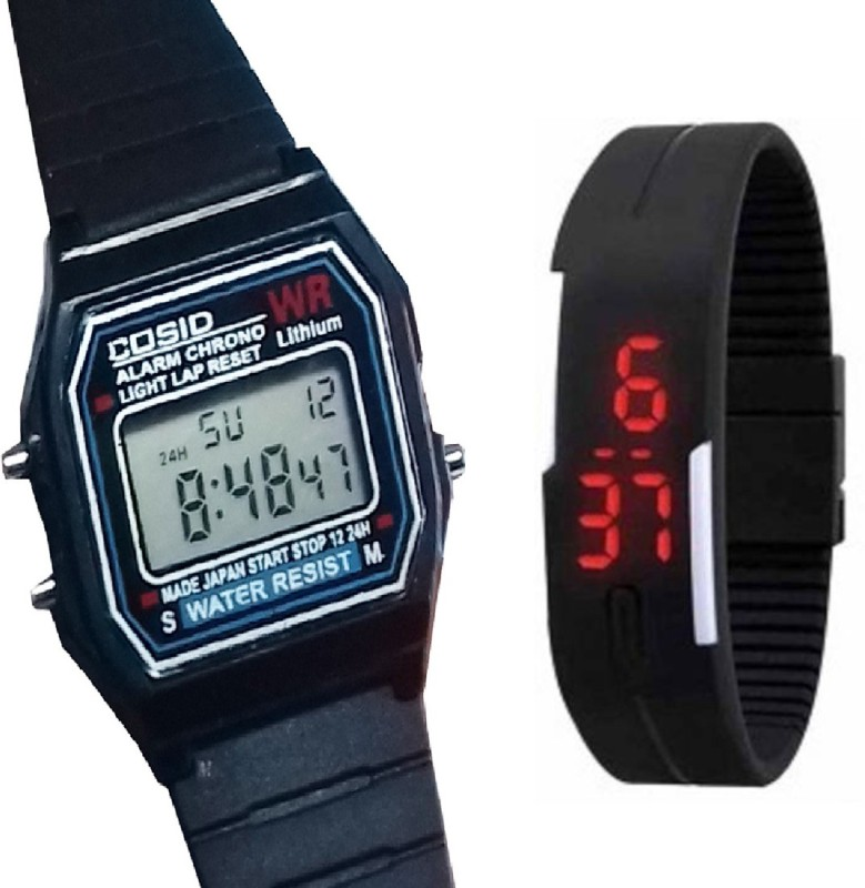 Fashion Gateway Digital Sports Watch with Timer, Stop Watch, Light, second and minute Count Black::Black Digital Watch - For Boys & Girls
